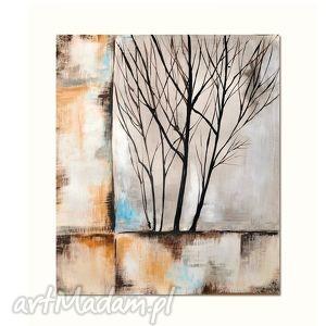Drzewo- abstrakcja, nowoczesny obraz ręcznie malowany, obraz, drzewo, abstrakcja