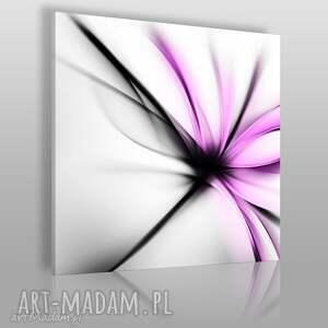 obraz na płótnie -abstrakcja kwiat nowoczesny fuksja - w kwadracie 80x80 cm 55606