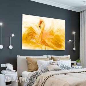 Obraz do sypialni flaming akwarela złoty 120 x 80, na ścianę