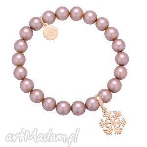 sotho pudrowa bransoletka perły swarovski® crystal ze - śnieżynka