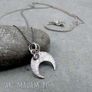 naszyjniki maleńka lunula i oczko rodolitu, boho, księżyc, lunula, delikatny