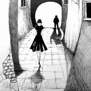Klimatyczna praca piórkiem ULICZKA artystki plastyka Adriany Laube, grafika, rysunek