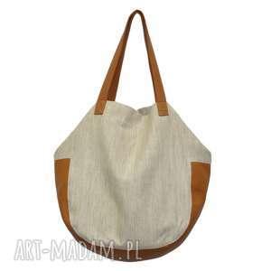 hand-made na ramię 24-0007 beżowo-złota torebka damska worek / torba na studia swallow