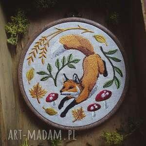 handmade dekoracje obrazek haftowany lisek