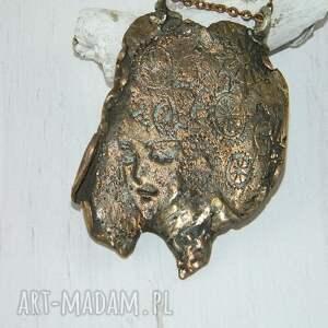 ręcznie zrobione wisiorki miedziany wisior-kobieca twarz
