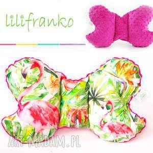 hand made dla dziecka poduszka podróżna flamingi fuksja