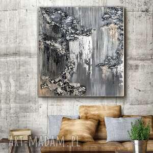 Kopalnia srebra - obraz do salonu ręcznie malowany abstrakcyjny