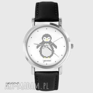 Prezent Zegarek - Pingwin, dziergany skórzany, czarny, zegarek, bransoletka