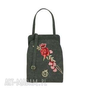 Stylowa torebka torba MANZANA z kwiatami- grafitowa, torba, torebka, damska, ekoskóra