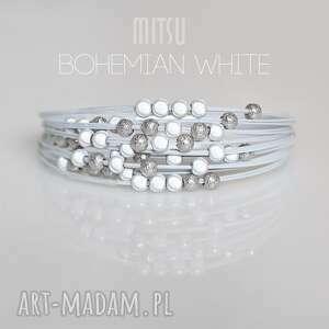 Prezent Bransoletka Bohemian White, delikatna, drobne-koraliki, zimowa, świetlista