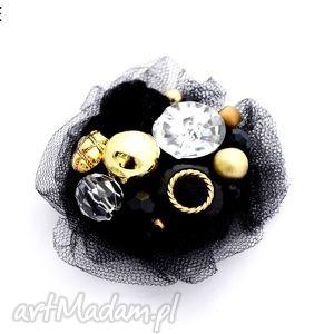 broszka black gold - broszka, tiul, czarna, złota