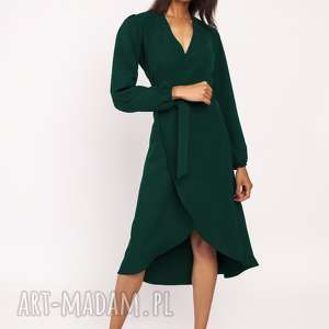 sukienki asymetryczna, kopertowa sukienka, suk160 zieleń butelkowa, zwiewina