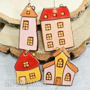 dekoracje kolrowe domki zestaw zawieszek, domki, zawieszki, na choinkę