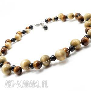ręcznie wykonane korale brunatne drewniane, naszyjnik drewniany, delikatny naszyjnik