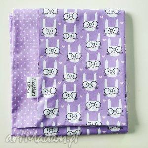 kocyk w króliczki, zajączki, fioletowy, kocyk, cienki, bawełna