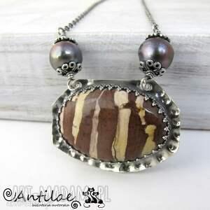 Jaspis pasiasty, srebrny naszyjnik, słodkowodne perły, jaspis, srebro, naszyjnik