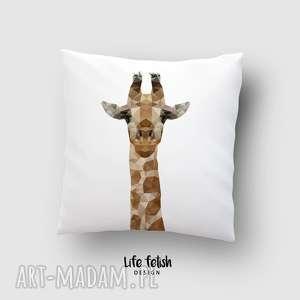 poduszka z żyrafą, poduszka, żyrafa, zoo, żyrafy, lowpoly, grafika, świąteczny