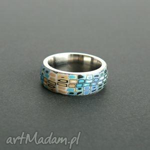 Stalowa obrączka z polymer clay, obrączki, pierścionki, brąz, turkus, retro
