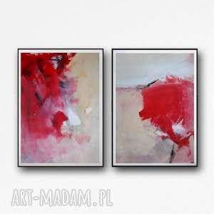 dom abstrakcje z czerwienią, obraz abstrakcja, abstrakcja do salonu, czerwona
