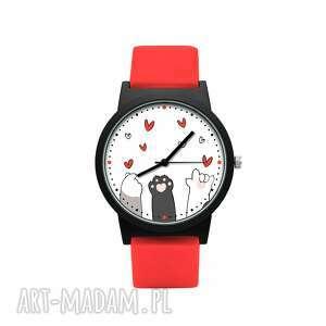 zegarek z silikonowym paskiem kocie łapki, słodki, kotek, serduszka, delikatny