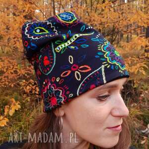 czapka boho, joga, om, paisley, indyjski wzór, hippi