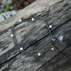 perełki i serce - naszyjnik ii, choker, choker z perłami, perłami