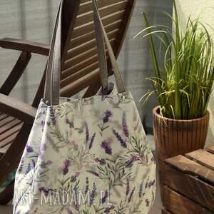lawendowy worek na ramię, torba, worek, kwiatowa, prezent, wakacyjna, shopperka