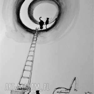 Rysunek piórkiem Kot wszędzie dotrze artystki Adriany Laube, rysunek, koty