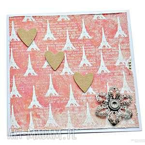 Kartka na Walentynki - zakochany Paryż, kartka, walentynki, miłość, serce,