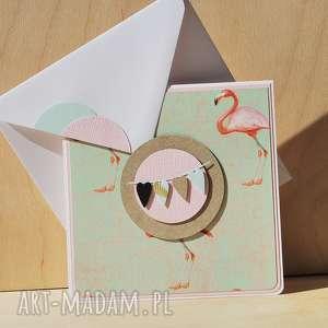 Kartka na różne okazje flamingi scrapbooking kartki annamade