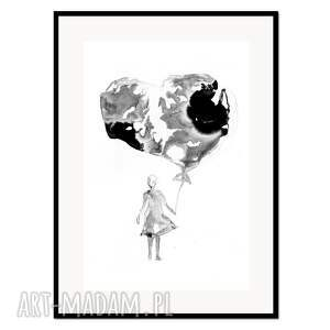 liquid heart, plakat autorski 50/70 cm, plakat, autorski, grafika, minimalizm