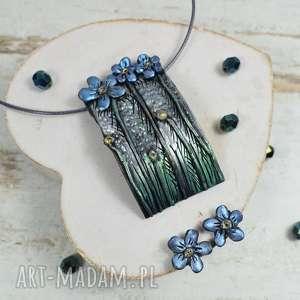 niezapominajki - komplet biżuterii zawieszka i kolczyki wkrętki