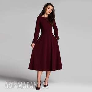 sukienka aniela total midi bordo, midi, rozkloszowa