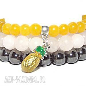 bransoletki czaki ananas, kamienie, naturalne, modna