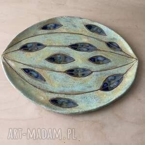 handmade ceramika talerz / patera &apos niebieskie łezki