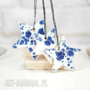 dekoracje 3 ceramiczne ozdoby choinkowe - gwiazdy, białe