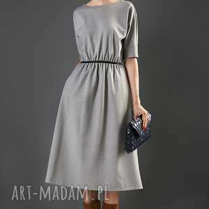 popielata sukienka midi paloma, sukienka, midi, rozkloszowana, uniwersalna