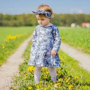 Dziewczęca sukienka - GREY ROSE rozm. 74-80 lub 86-92, sukienka, dzianinowa, kwiaty