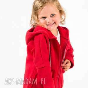 bluzy bluza czerwona na suwak z kapturem, moda