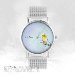 Zegarek, bransoletka - żółty ptaszek metalowy zegarki liliarts