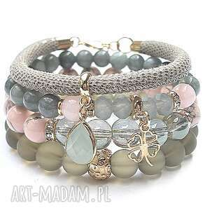 ręczne wykonanie bransoletki taupe, olive and pink /31.03.17/ set