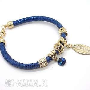 STRAP - metalic blue /16-12-18/, skóra, rzemień, swarovski, metaliczny