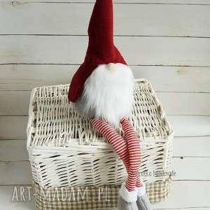 ręcznie zrobione prezent pod choinkę świąteczny skrzat