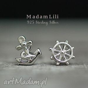 925 srebrne mini kolczyki ahoi, marynarski, morskie, srebro, wkręty, kotwica