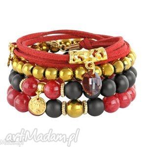 frida 4 - red gold & black - czarne bransoletki, rzemień, jadeit