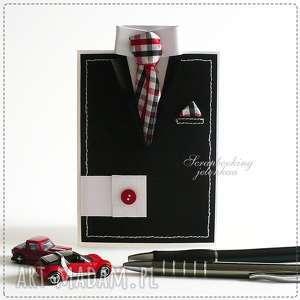scrapbooking kartki garnitur męski - kartka, garnitur, koszula, krawat, mankiet