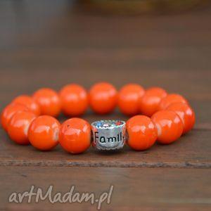 pomarańczowe korale z cyrkoniową przekładką family, nowość, prezent