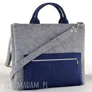 hand-made torba na laptopa granatowa, minimalistyczna laptopówka, do ręki i ramię, pasek