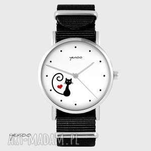 Zegarek - kotek, serce czarny, nato zegarki yenoo zegarek