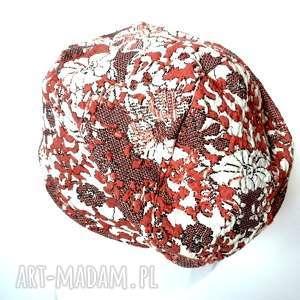 czapka dzianinowa damska miękka dresowa w kwiaty - czapka, dzianina, etno, kwiaty